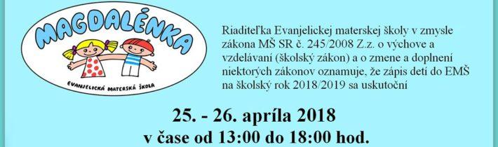 """<a href=""""http://magdalenka.ecavlos.sk/zapis-2/"""">Zápis na šk. rok 2018/19</a>"""